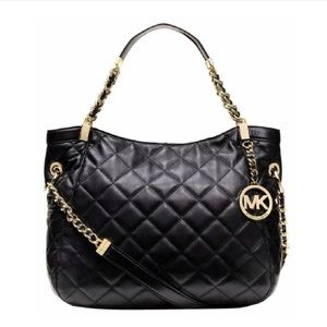 Michael Kors Susannah black quilted leather bag